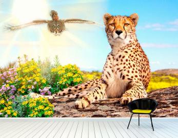 """Фотообои на стену животные """"Леопард, сова, белка"""""""
