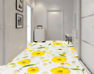 """Линолеум с рисунком """"Желтые ромашки на белом фоне"""" Напольное покрытие купить."""
