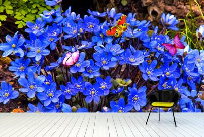"""Фотообои на стену цветы """"Синие цветочки, маленькие,бабочки"""""""