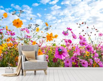 """Фотообои на стену цветы """"Полевые, солнце, голубое небо, бабочки"""""""