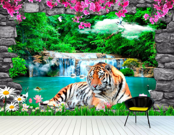 Фотообои на стену животные ТИГР, ОЗЕРО, ВОДОПАД, ПТИЦЫ, ЦВЕТЫ, АРКА