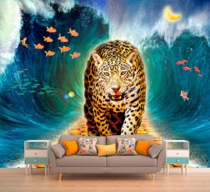 """Фотообои на стену животные """"Ягуар, волны, рыбки"""""""