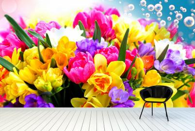 """Фотообои на стену """"Букет цветов, голубой фон, пузырьки"""""""