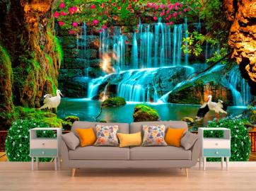 """Фотообои на стену Водопад """"Терраса, водопад, цапли, цветы"""" в интерьере №2"""