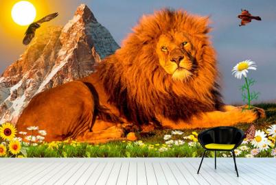 """Фотообои на стену животные """"Лев, гора, небо, птицы"""""""