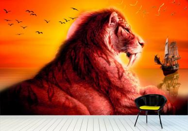 """Фотообои на стену животные """"Лев, корабль, закат"""""""