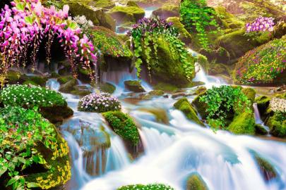 """Фотообои на стену """"Водопад, растения, камни, цветы, зелень"""" в интерьере №2"""