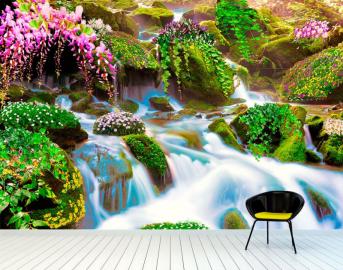 """Фотообои на стену """"Водопад, растения, камни, цветы, зелень"""" в интерьере №1"""