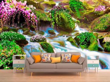"""Фотообои на стену """"Водопад, растения, камни, цветы, зелень"""" в интерьере №3"""