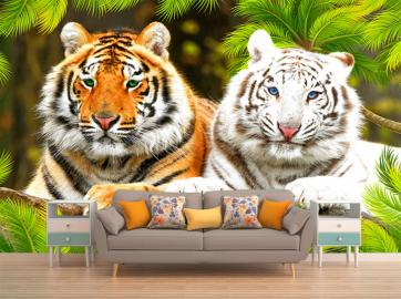"Фотообои на стену животные ""Тигры, белый, амурский"""