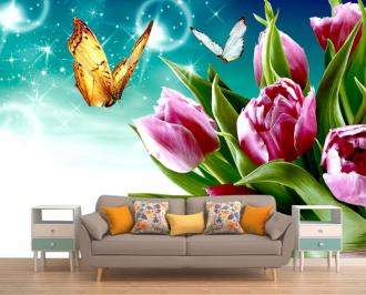 """Фотообои купить """"Розовые тюльпаны, небо, бабочка"""""""