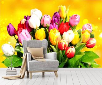 """Фотообои купить """"Букет тюльпанов на желтом фоне"""""""