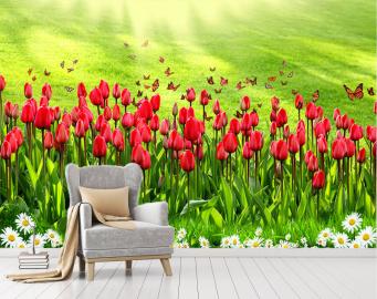 """Фотообои купить """"Тюльпаны красные, ромашки, зеленое поле"""""""