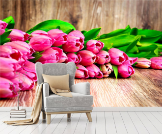 """Фотообои купить """"Розовые тюльпаны, деревянный фон"""""""