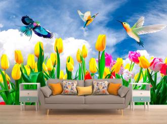 """Фотообои купить """"Поле тюльпанов, голубое небо, птицы"""""""