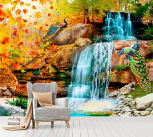 """Фотообои на стену Водопад """"Водопад, павлины, осень, листья"""" в интерьере №2"""