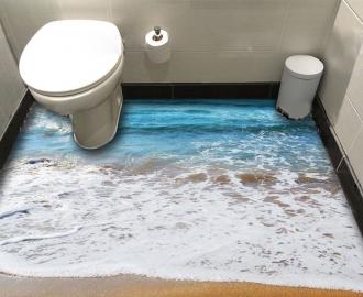 """Линолеум в ванную комнату """"Синие море, прибой, пена"""" купить"""
