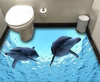 """Обои для оклейки пола """"Два дельфина"""" купить"""