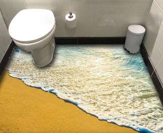 """Линолеум в ванную комнату """"Желтый песок, прибой"""" купить"""