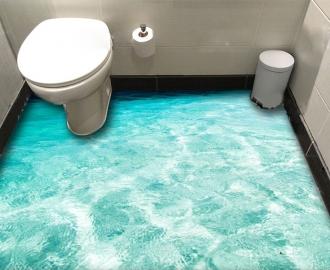 """Линолеум в ванную комнату """"Океан, бирюза, дно, берег"""" купить"""