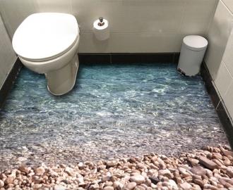"""Линолеум в ванную комнату """"Вода, камни"""" купить"""