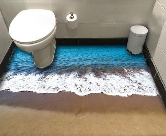 """Линолеум в ванную комнату """"Берег, мокрый песок, морская пена"""" купить"""