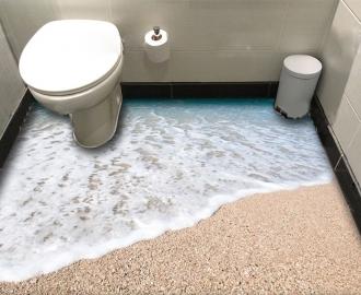 """Линолеум в ванную комнату """"Берег, вода, мелкая ракушка"""" купить"""