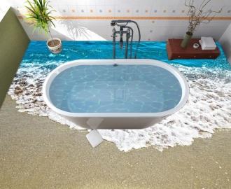 """Линолеум в ванную комнату """"Берег, вода, пена, пляж"""" купить"""