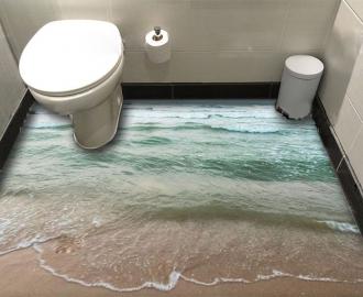 """Линолеум в ванную комнату """"Изумрудное море, берег"""" купить"""
