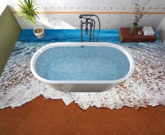 """Линолеум в ванную комнату """"Красный песок, море, берег"""" купить"""