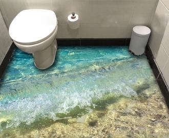 """Линолеум в ванную комнату """"Океан, вода, дно, берег"""" купить"""