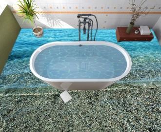 """Линолеум в ванную комнату """"Голубое море, камешки"""" купить"""