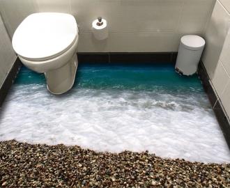 """Линолеум в ванную комнату """"Синее море, пенный берег, камни""""  купить"""