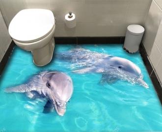 """Обои для оклейки полов """"Дельфины, голубая вода"""" купить"""