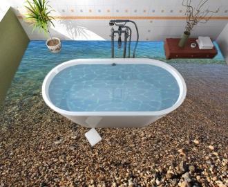 """Линолеум в ванную комнату """"Малая вода, прозрачное дно"""" купить"""