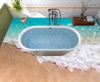 """Линолеум в ванную комнату """"Голубое море, пена, волны, песок""""  купить"""