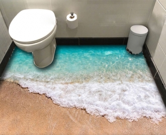 """Обои для оклейке пола """"Голубое море, пена, волны, песок""""  купить"""