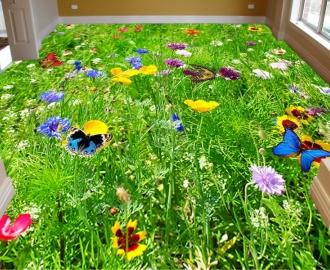 """Линолеум на веранду """"Зеленая трава, бабочки, цветы"""""""