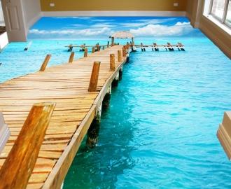 "Линолеум на веранду ""Мост, океан"""