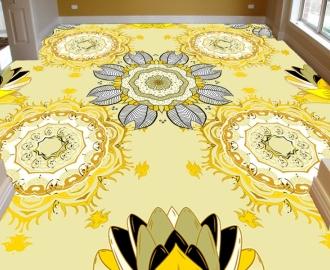 """Линолеум в гостиную """" Желтый пол, узоры"""""""