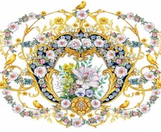 """Линолеум в гостиную """"Цветы, узора, птица"""""""