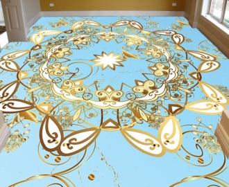 """Линолеум в гостиную """"Голубой, золотые узоры"""""""