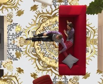 """Линолеум в гостиную """" Голубой фон, золотые узоры"""""""