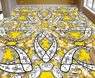 """Линолеум в гостиную """" Узоры, цветы, желтый"""""""