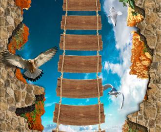 """Линолеум красивый """"Пропасть, веревочный мост"""" купить"""