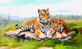 "Фотообои Фреска ""Тигры"""