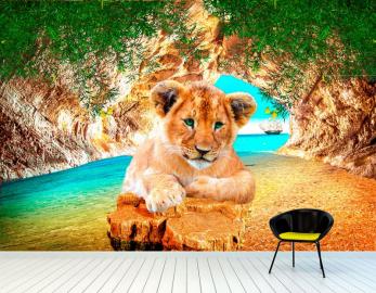 """Фотообои на стену животные """"Львенок, берег, скала"""""""