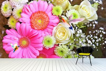 """Фотообои на стену """"Розовые цветы, колибри"""""""