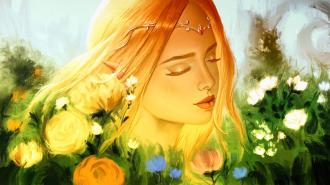 "Фотообои Фреска ""Девушка, цветы"""