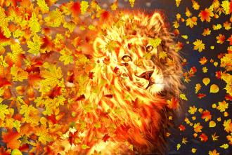 """Фотообои Фреска """"Золотой лев, листья"""""""